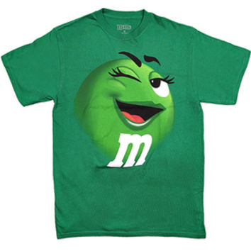 M&M's Candy Character Face T-Shirt - Adult - Green - Large