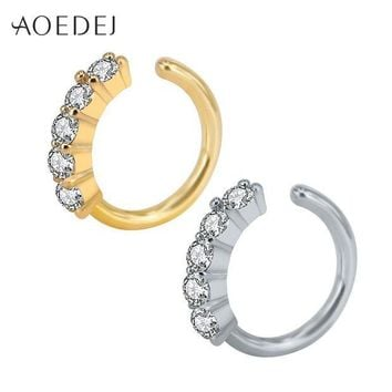 ac DCCKO2Q AOEDEJ Crystal Nose Ring Hoop Gold Color 8mm Nose Piercing Jewelry Tpyes Helix Cartilage Earrings Piercing Nez Tragus Piercing