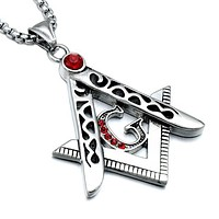 All Red Crystal Square & Compass Necklace