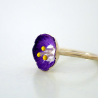 Sterling Silver Flower Ring Katerina by Nafsika on Etsy
