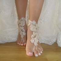 Champagne Lace Wedding Anklet,Wedding Shoes,Lace Barefoot Sandals,French Lace sandals,Bridal shoes,Foot Jewelry