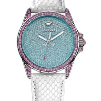 Juicy Couture Women's Stella White Embossed Leather Strap Watch 40mm 1901132