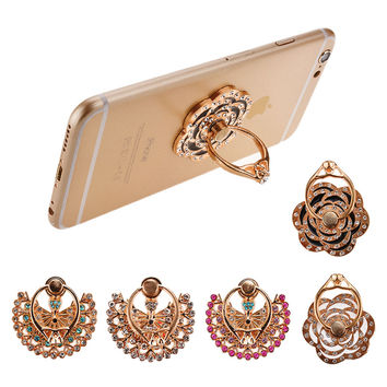 Fashion Crystal Finger Ring for Smart Mobile Phone Stand Holder Metal Peacock Butterfly Flower for iPhone Samsung Universal Grip