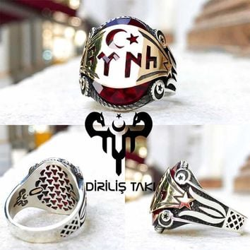 Red zirconia stone with monogram crescent star sterling silver ring