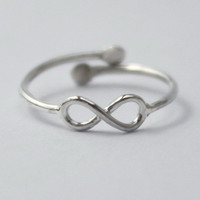 Sterling Silver Knuckle/Pinky/Kids/Toe Ring, 925 Adjustable Ring w. tiny Infinity sign and open back. Christmas stocking/gift.