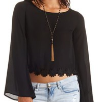 Crocheted Daisy Trim Bell Sleeve Crop Top by Charlotte Russe - Black
