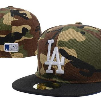 auguau Los Angeles Dodgers New Era MLB Authentic Collection 59FIFTY Cap Camouflage-White LA