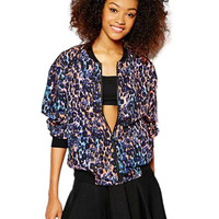 Multicolor Printed Bomber Jacket