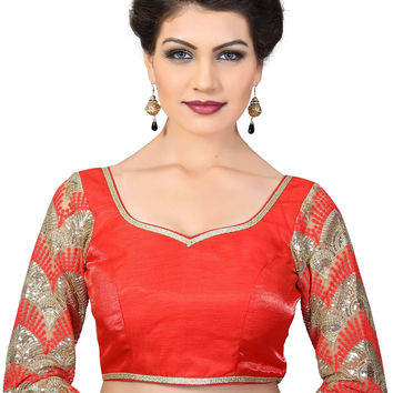 Saris and Things Red Dupion Silk Fancy Back Open Saree Blouse Choli SNT-X-392-RED