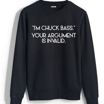 Chuck Bass Crewneck Sweatshirt - Men - Women - Unisex - Black - Gray
