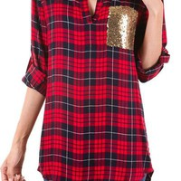 Mad About Plaid Top - Sequin and Plaid Tunic Top