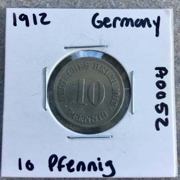 1912 German Empire 10 Pfennig Coin A0052
