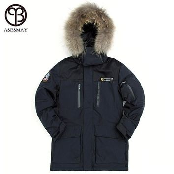 Asesmay 2017 Men Brand Clothing Down Jacket Thickening Down Parka Winter Snow Warm Coat White Duck Down Jackets Natural Raccoon