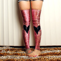 Pink Heart Leggings, layer, long footless Snake socks Tights, thigh highs leg warmers, Crude Things Liquid Skin Collection