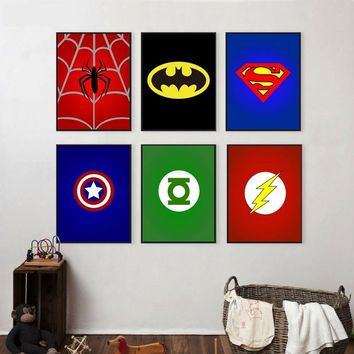 Superhero Avenger Batman Spiderman Canvas Painting For Kids Boy Room Colorful Art Print Poster Wall Pictures Child Bedroom Decor
