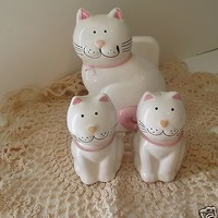 Mount Clemens Pottery Kitty Cat Salt & Pepper Shakers Napkin Holder