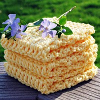 Cotton Washcloths Bright Yellow - Set of 3 Cotton -  Crochet READY TO SHIP Not Your Grandma's Washcloths