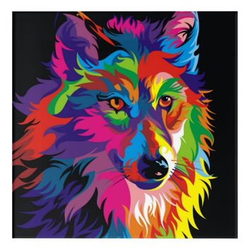Colorful Wolf Acrylic Wall Art