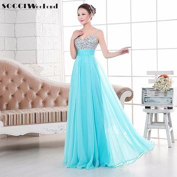 SOCCI  V-neck Sequins and Chiffon Long Evening Dress Backless Drapped Summer Party Robe In Stock Beading Formal Evening Dresses