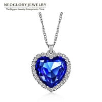 Neoglory Crystals Titanic Heart Ocean Love Necklaces & Pendants for Women Fashion Jewelry Birthday Best Friends Gifts 2017 He1