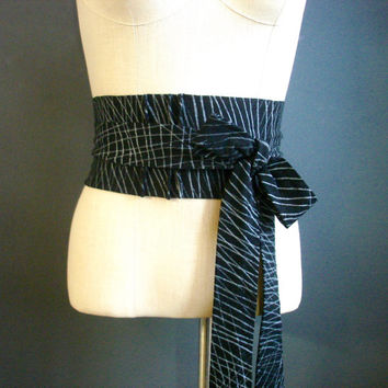 On and On - iheartfink Handmade Hand Printed Womens OOAK Wearable Art Black and Metallic Silver Unique Accessory Jersey Obi Belt
