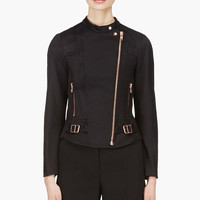 Veronique Branquinho Black And Copper Twill Quilted Biker Jacket