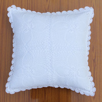 HANDMADE CROCHET CUSHION Cover - Tulasi Vintage Design- Throw Pillow - Cotton - Premium Home Decor - Natural and White Color