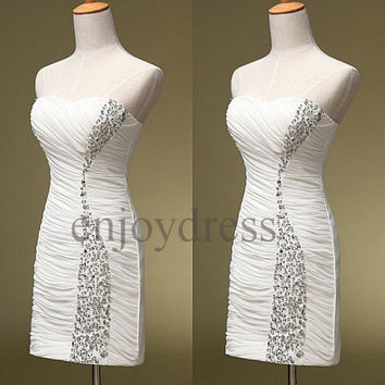 Custom White Beaded Short Simple Prom Dresses Bridesmaid Dresses 2014 Cheap Evening Gowns Wedding Party Dresses Party Dress Homecoming Dress