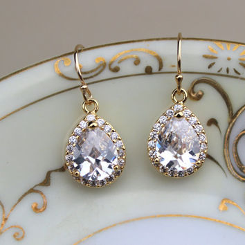 Gold Crystal Earrings Teardrop Clear Jewelry - Bridesmaid Earrings Bridal Earrings Crystal Wedding Earrings Bridesmaid Jewelry Wedding Gift