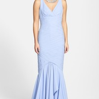 Women's JS Collections Banded Stretch Trumpet Gown