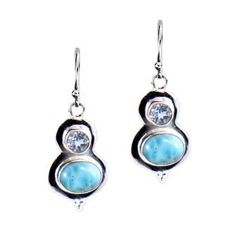 Cute Larimar and Blue Topaz Dangle Earrings in Sterling Silver