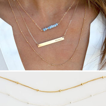 Satellite Layering Necklace, Layering Necklace, Gold Satellite Chain, Everyday Necklace ,Beaded Chain, Gift for Her,Jewelry LEILAJewelryshop