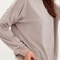 Taupe Velour Side Stripe Sweater