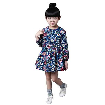 Spring Autumn Girls Dress Casual Long Sleeves Flower Princess Girl Dresses Toddler Girl Clothing 2-8 Age Cotton Mid-legnth Gress