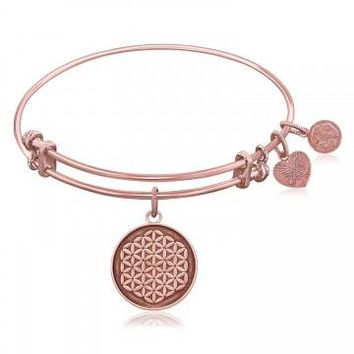 Expandable Bangle in Pink Tone Brass with Sacred Geometry Flower Of Life