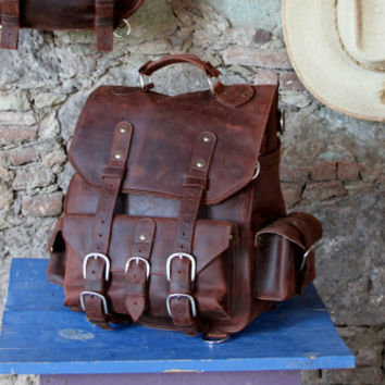 Leather backpack for Men/ Rustic Brown *