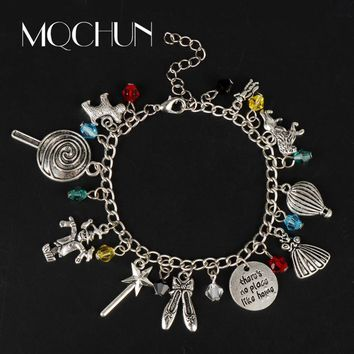 "MQCHUN A fairy tale The Wizard of OZ Bracelets for Women Girl ""There Is No Place Like Home""Bracelet Cosplay Jewelry Bangle Gift"