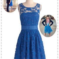Lace Dresses Short ,Lace Bridesmaid Dresses, Royal Blue Bridesmaid Dress,  Lace Prom Dress, Cheap Prom/Homecoming dresses