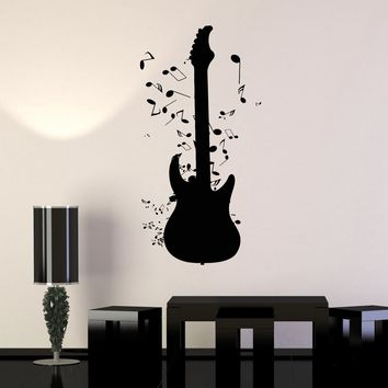 Wall Stickers Vinyl Decal Guitar Notes Rock`n`Roll Music Unique Gift (z1763)
