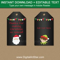 Holiday Chalkboard Tags, Christmas Chalkboard Tags, Chalkboard Gift Tag, EDITABLE Christmas Tags, Christmas Printables, Holiday Template C2