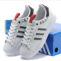 "Fashion ""Adidas"" Shell-toe Flats Sneakers Sport Shell-toe print Shoes Shark white"