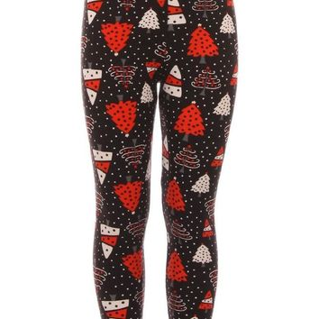 Kid's Red White Christmas Tree Pattern Printed Leggings