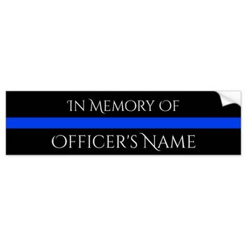 IN MEMORY OF FALLEN OFFICER THIN BLUE LINE STICKER