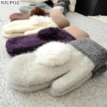 Lovely Female Winter Warm Knitted Wool Thicker Cashmere Velvet Mittens Ladies Cute Rabbit Hair Ball Fingerless Women Gloves G103