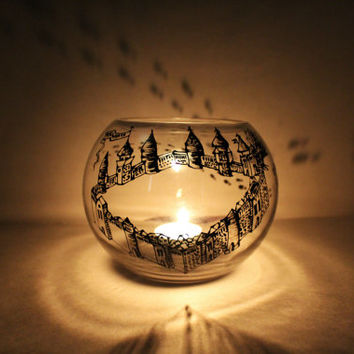 Marauder's Map Harry Potter Glass Candle Holder Bowl