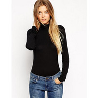 Turtleneck Knitted Long Sleeve T-Shirts  LAVELIQ