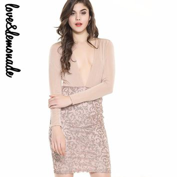 Sexy V-Neck  Long-Sleeved Sequins Bodycon Party Dress Nude/Black