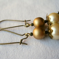 Handmade Earrings Pearly Pink Brass Dangles with by PiggleAndPop