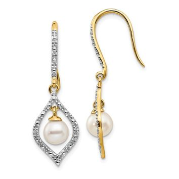 14K Yellow Gold Diamond and 6-7mm Round FW Cultured Pearl Dangle Earrings