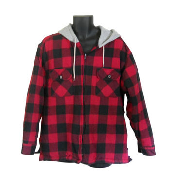 Red Flannel Shirt Hooded Flannel Men Flannel Shirt 90s Grunge Flannel Plaid Flannel Shirt 90s Grunge Shirt Hoodie Men Clothing Lumberjack